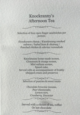 Knockranny's Afternoon Tea menu