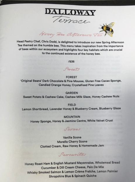 Honey Bee Afternoon Tea at the Dalloway Terrace -menu